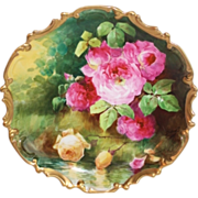 "OUTSTANDING  Coronet LIMOGES French Tea Roses ANTIQUE PLAQUE ~ Listed Artist ""DUVAL"" ~ ..."