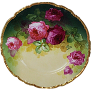 "WOW!! OUTSTANDING JPL LIMOGES French Tea Roses ANTIQUE 9 3/4"" Dinner Plate ~ Listed ..."
