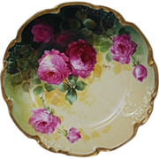 "WOW!! OUTSTANDING JPL LIMOGES French Tea Roses ANTIQUE 8 3/4""  Plate ~ Listed Artist ..."