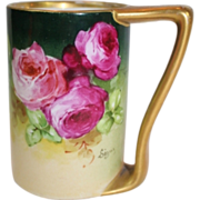"WOW!! OUTSTANDING JPL LIMOGES French Tea Roses ANTIQUE Coffee Mug ~ Listed Artist ""Segur"""