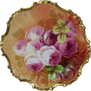 """BEAUTIFUL B&H LIMOGES French Tea Roses ANTIQUE 7 1/8"""" Plate ~ Listed Artist ..."""
