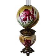 REDUCED Wonderful Gone with the Wind Oil Banquet Lamp ~ Breathtaking BEAUTY WITH IRIS'~ ...