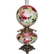 """HUGE JUMBO Gone with the Wind Banquet Oil Lamp ~RARE 12"""" SHADE~Masterpiece Breathtaking B"""