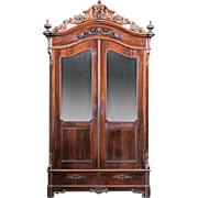 American 1850's Rococo Rosewood Armoire~Outstanding Carvings ~ Magnificent Piece of Fine Antiq