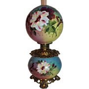 Rare Gone with the Wind Oil Banquet Lamp  ~Masterpiece Breathtaking BEAUTY WITH HAND PAINTED .