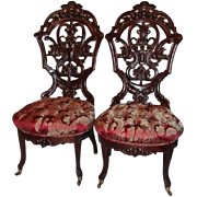 Outstanding PAIR of Meeks Rosewood Rococo Victorian Parlor Chairs ~ Circa 1850's ~ New ...