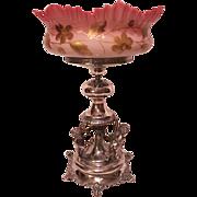 RARE HUGE Antique 1880'S Derby Victorian Brides Bowl & Basket Centerpiece~ Outstanding Hand Bl