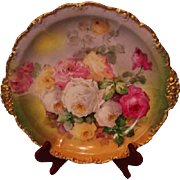 "Magnificent Antique Limoges France 14"" Large Charger Tray~ Breathtaking Hand Painted Roses ~"