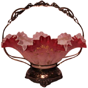 Wonderful Antique Rococo 1880'S Victorian Brides Bowl & Basket ~ Outstanding Hand Blown & Enam