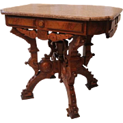 American Neo-Grec Renaissance Revival Carved and Burled Walnut Side Table, 1870's, probably ..