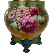 REDUCED WOW!! RARE OUTSTANDING JPL France LIMOGES Jardiniere with Matching Base ~ Completely .
