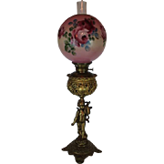 SALE Outstanding  B&H Figural Cherub Banquet Kerosene Lamp ~ Original Hand Painted Shade ~ Out