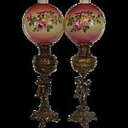 PAIR of  Outstanding Figural Cherub Banquet Kerosene Lamps ~ Electrified ~ Original Hand ...