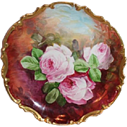 "OUTSTANDING Coronet 11 1/2"" LIMOGES French Tea Roses ANTIQUE Wall PLAQUE ~ Artist Signed"