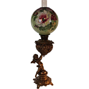 "RARE Figural Cherub 1889 ""The New Columbia"" Banquet Kerosene Oil Lamp ~ Original Flo"