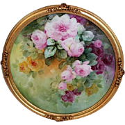 "Breathtaking LARGE 15"" Framed Antique T&V HAND PAINTED ROSES Porcelain Charger Plaque ..."