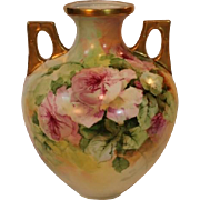 Breathtaking LARGE Porcelain VASE with HAND PAINTED ROSES ~ Masterpiece Stunning Still Life ..