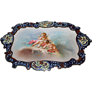 Extremely Rare Sevres Porcelain Plaque  Champlevé Bronze Desk or Dresser Tray ~ Hand Painted