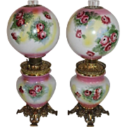 RARE PAIR of HAND PAINTED Antique Gone with the Wind Oil Parlor Lamps ~Masterpiece Breathtakin
