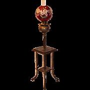 """Antique Victorian Piano Floor Lamp ~Original 11"""" Shade ~ Original Oil Burning Condition."""