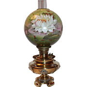 WOW!   B&H Victorian Water Lilly Banquet Kerosene Oil Lamp  ~ Original Hand Painted Impression