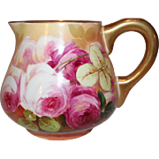OUTSTANDING Blakeman and Henderson Limoges Lemonade or Cider Pitcher~ Outstanding Hand Painted