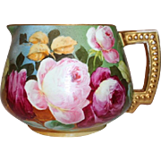 Beautiful JPL Limoges Lemonade or Cider Pitcher~ Outstanding Hand Painted Roses~Famous Artist