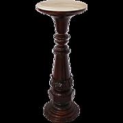 1860's Walnut Rococo Victorian Pedestal w/ Marble Top