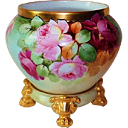 """WOW!! RARE OUTSTANDING B&Co LIMOGES Jardiniere with Matching Base ~ Listed Artist """"Facest"""""""