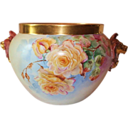 REDUCED HUGE Gorgeous Limoges Hand Painted Lion Handled Jardiniere