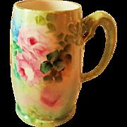 Hand Painted Dragon Handled Mug ~  Hand Painted Roses  ~ Superb Artistry Jean Pouyat JPL ...