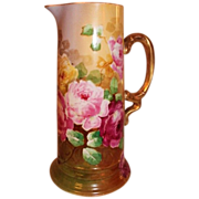 REDUCED Truly Magnificent Antique Limoges France Large Tankard Pitcher~ Breathtaking Hand ...