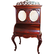 1860's American Rococo Rosewood Cylinder Desk ~  Bookcase Top  ~ Very Nice Smaller Size ...