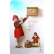Tinted Real Photo Postcard Little Girl With Doll at the Mailbox, Belgium, Vintage 1930s, ...