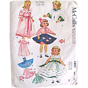 Madame Alexander Doll Clothes Pattern McCall's 1809 Vintage 1950s Size 15 Inch Uncut Factory