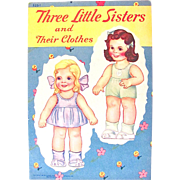 Three Little Sisters and Their Clothes Paper Dolls Uncut Samuel Lowe 525-1 Vintage 1944