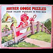 Mother Goose Picture Puzzles Platt & Munk Vintage 1952
