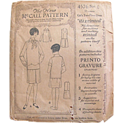 The New McCall Printed Pattern 4576, Girls' Two-Piece Dress Size 6 Years, Vintage 1921 ...