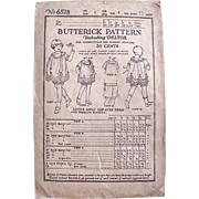 Butterick Pattern 6518, Little Girls' Slip-over Dress With Matching Bloomers, Vintage 1923, ..