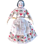 China Head Doll With Stuffed Cloth Body and Patriotic Red, White and Blue Dress