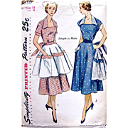 Womens Dress and Apron Pattern Simplicity 3550 Uncut Factory Folded Vintage 1950s Size 18 Bust