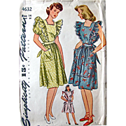 Misses Dress or Pinafore Apron Pattern Simplicity 4632 Factory Pre-cut Complete Vintage 1940s