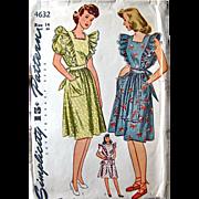 Misses Dress or Pinafore Apron Pattern Simplicity 4632 Factory Pre-cut Complete Vintage 1940s