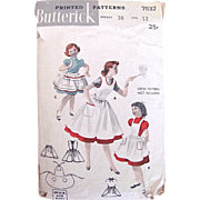 Girls Apron Pinafore Pattern, Butterick 6532, Complete, Vintage 1950s, Size 12 Teen, Hard to .