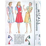 Misses Apron Sewing Pattern, McCall 987, Complete with Unused Transfer, Vintage 1940s, Size ..