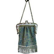 SALE Enameled Chain Mesh Doll or Childs Purse Vintage 1900s