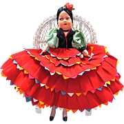 Flamenco Dancer Girl Felt and CLoth Lenci-Type Doll 18 Inches Tall