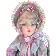 SOLD Boudoir Doll Sterling Composition with Jointed Arms Dressed as Southern Belle