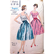 Uncut Sewing Pattern Vogue 9891, 2-Piece Party Dress, Vintage 1959, Misses Size 10 Bust ...