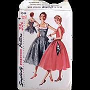 1950s Sun Dress, Simplicity Pattern 1044, Misses Size 12, Cut and Complete, Vintage 1955, Bust